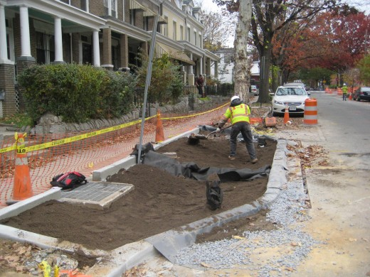 RiverSmart Washington – Intensive LID Retrofits in Two Washington, DC Neighborhoods: installation of a bioretention bump-out